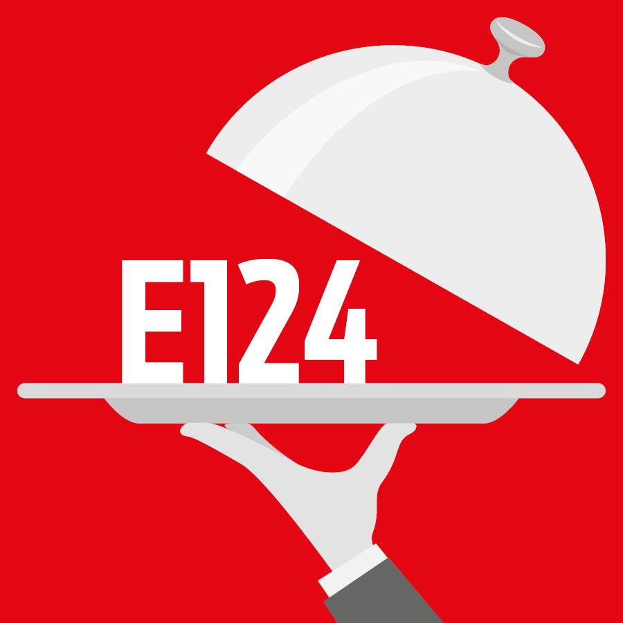 E124 Rouge ponceau 4R, rouge cochenille A -
