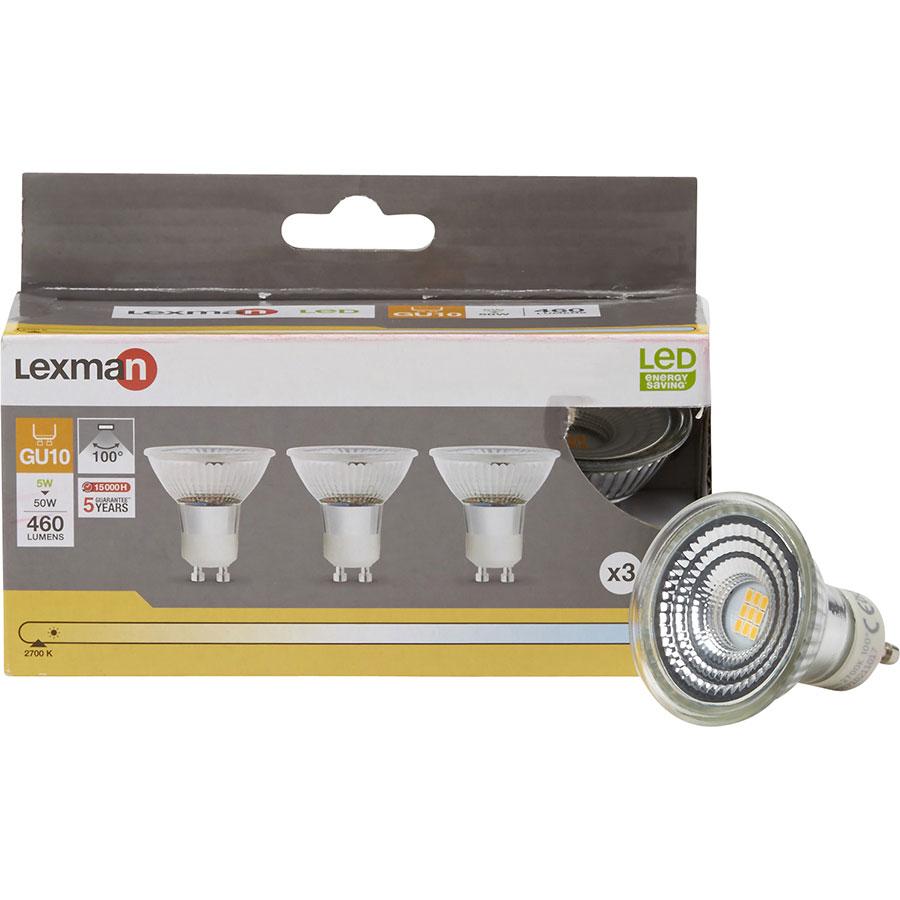 Lexman (Leroy Merlin) GU10 LED 460 lumens 5W (Blister 3 spots) -