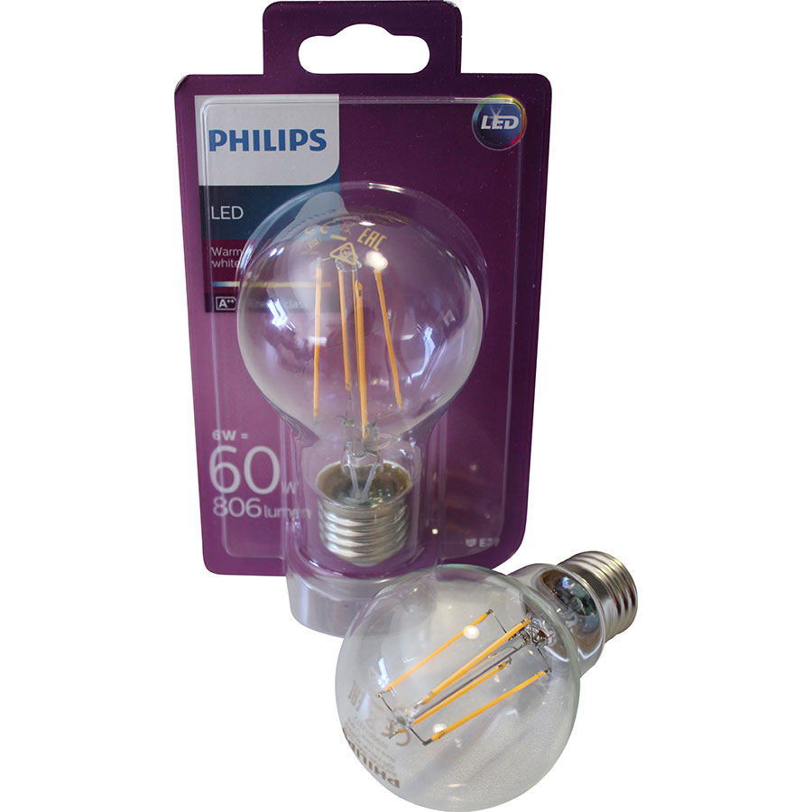 test philips a60 6 w 4 filaments ampoules led ufc que. Black Bedroom Furniture Sets. Home Design Ideas