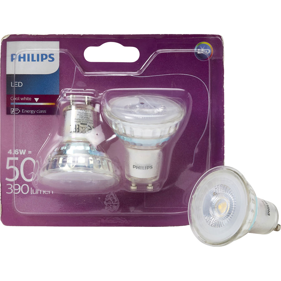 Philips LED GU10 4,6W 390 lumens Cool white (Blister 2 spots) -