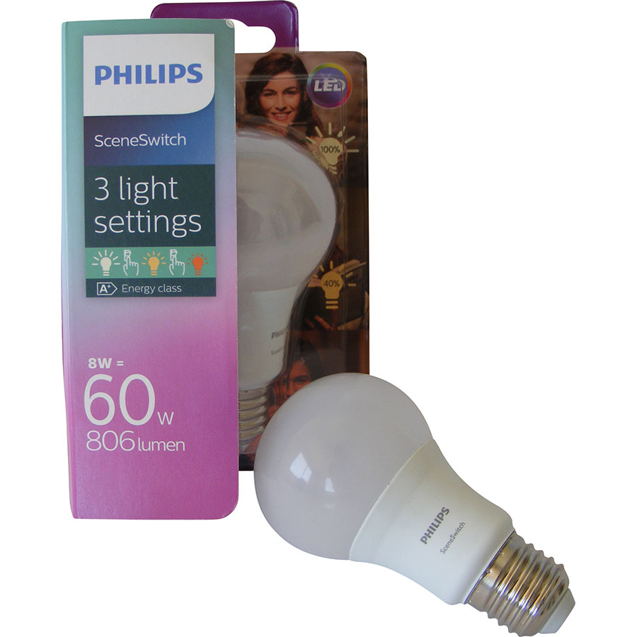 Philips LED SceneSwitch 60W A60 E27 WW FR 1BC/4 -