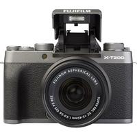 Fujifilm X-T200 + Fujinon Super EBC XC 15-45 mm OIS PZ - Vue de face avec le flash