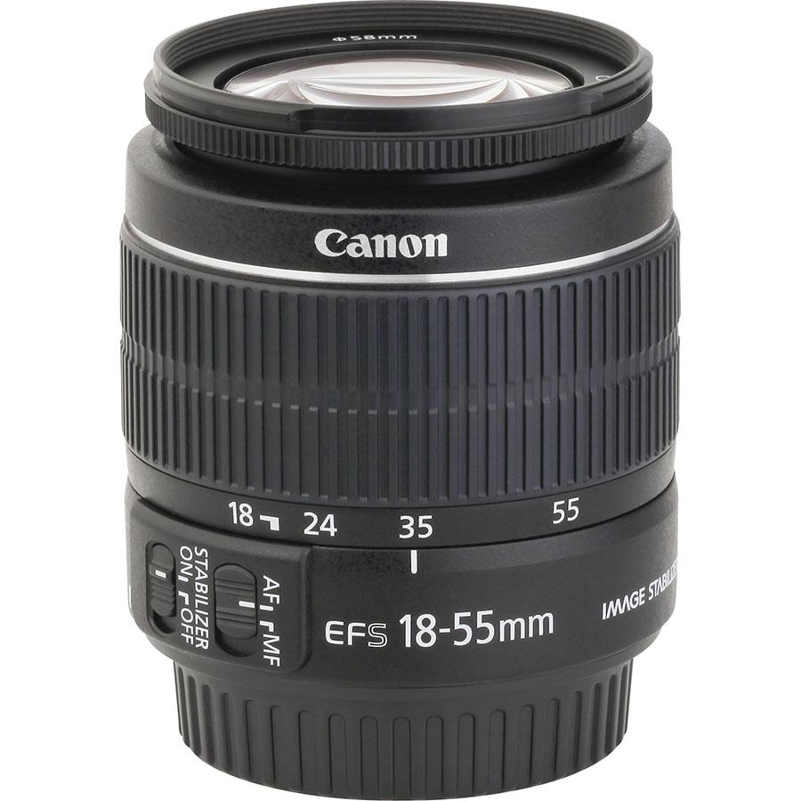 Canon EOS 2000D + EF-S 18-55 mm IS II - Vue de l'objectif