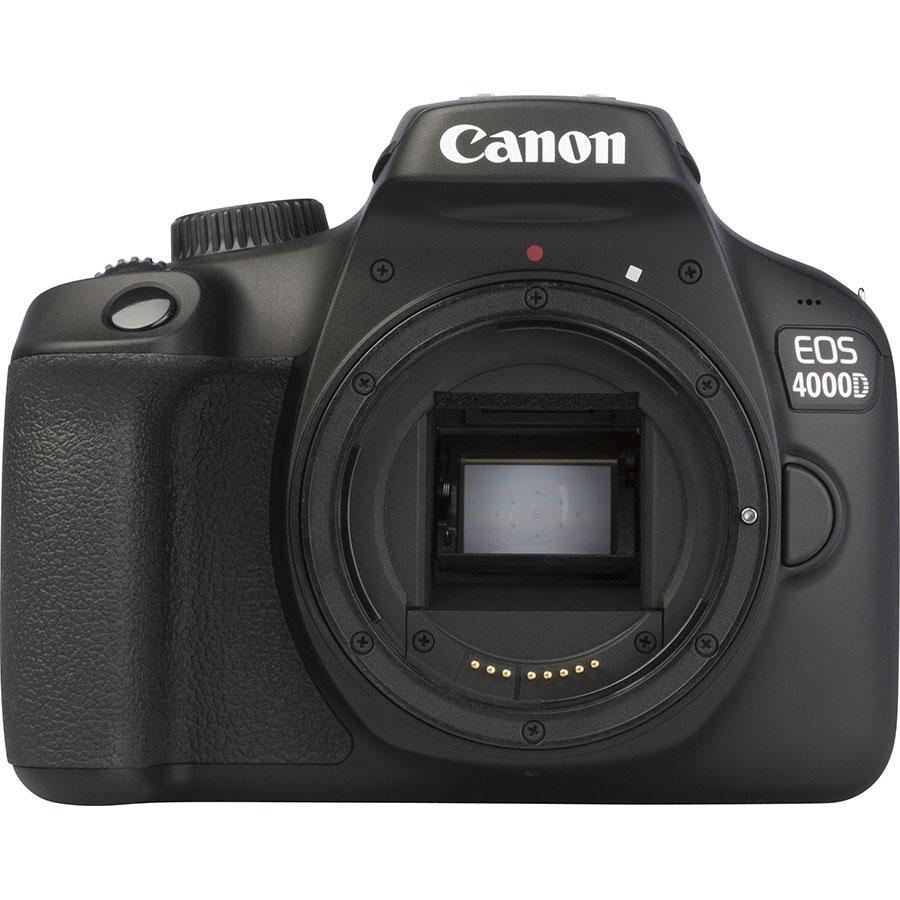 Canon EOS 4000D + EF-S 18-55 mm III - Vue de face sans objectif