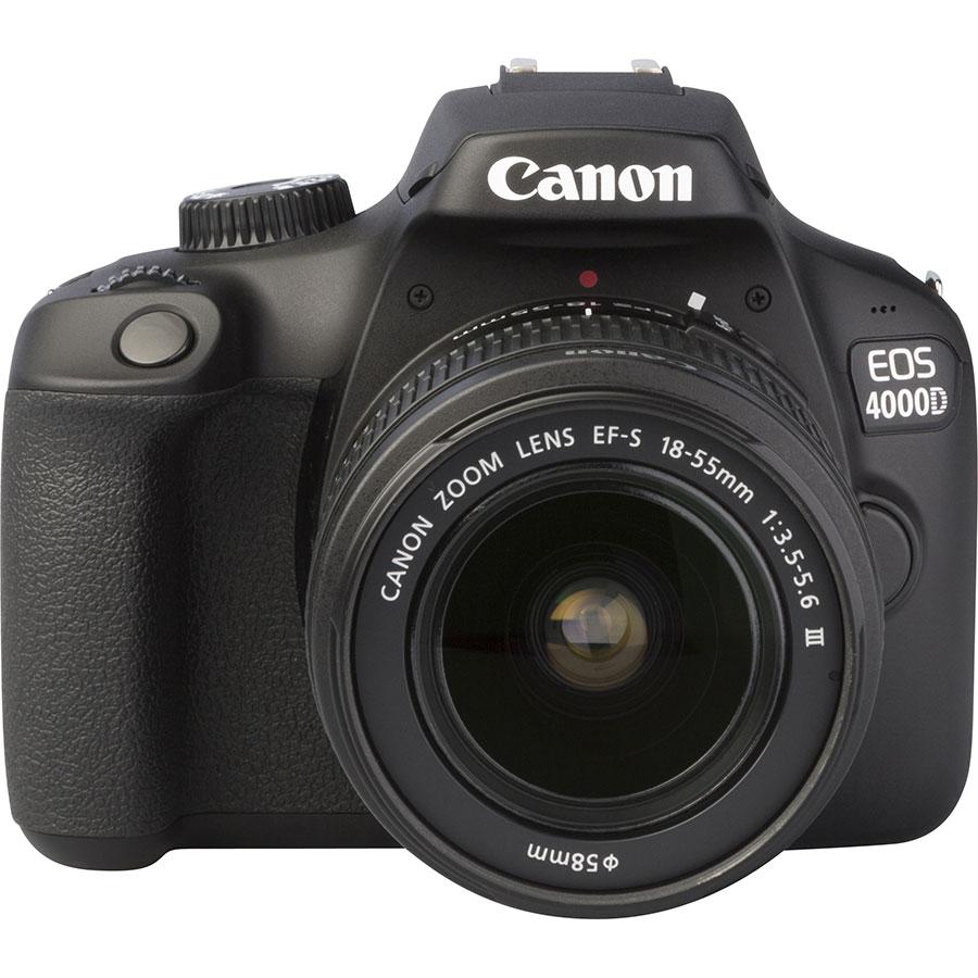 Canon EOS 4000D + EF-S 18-55 mm III - Autre vue de face