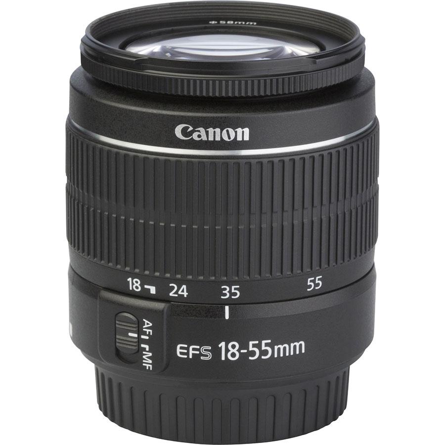 Canon EOS 4000D + EF-S 18-55 mm III - Vue de l'objectif