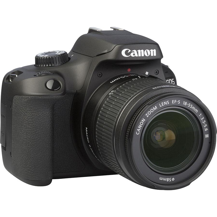 Canon EOS 4000D + EF-S 18-55 mm III - Vue de 3/4 vers la droite