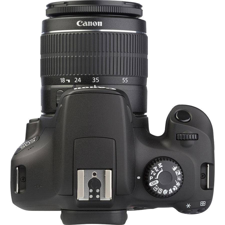 Canon EOS 4000D + EF-S 18-55 mm III - Vue du dessus