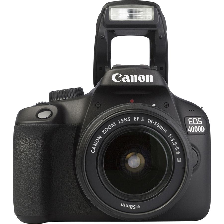 Canon EOS 4000D + EF-S 18-55 mm III - Vue de face