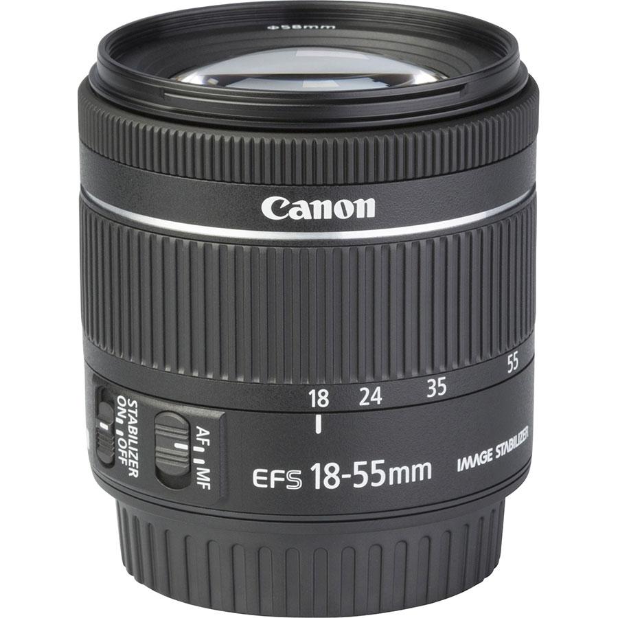 Canon EOS 77D + EF-S 18-55 mm F4-5,6 IS STM - Vue de l'objectif