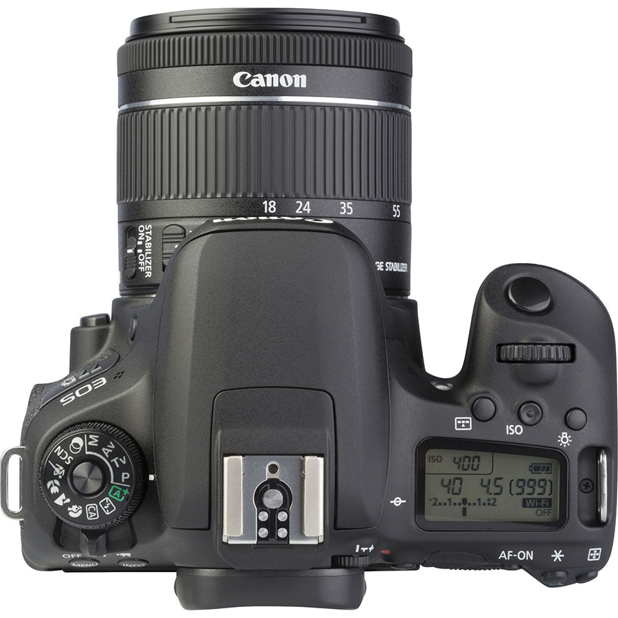 Canon EOS 77D + EF-S 18-55 mm F4-5,6 IS STM - Vue du dessus