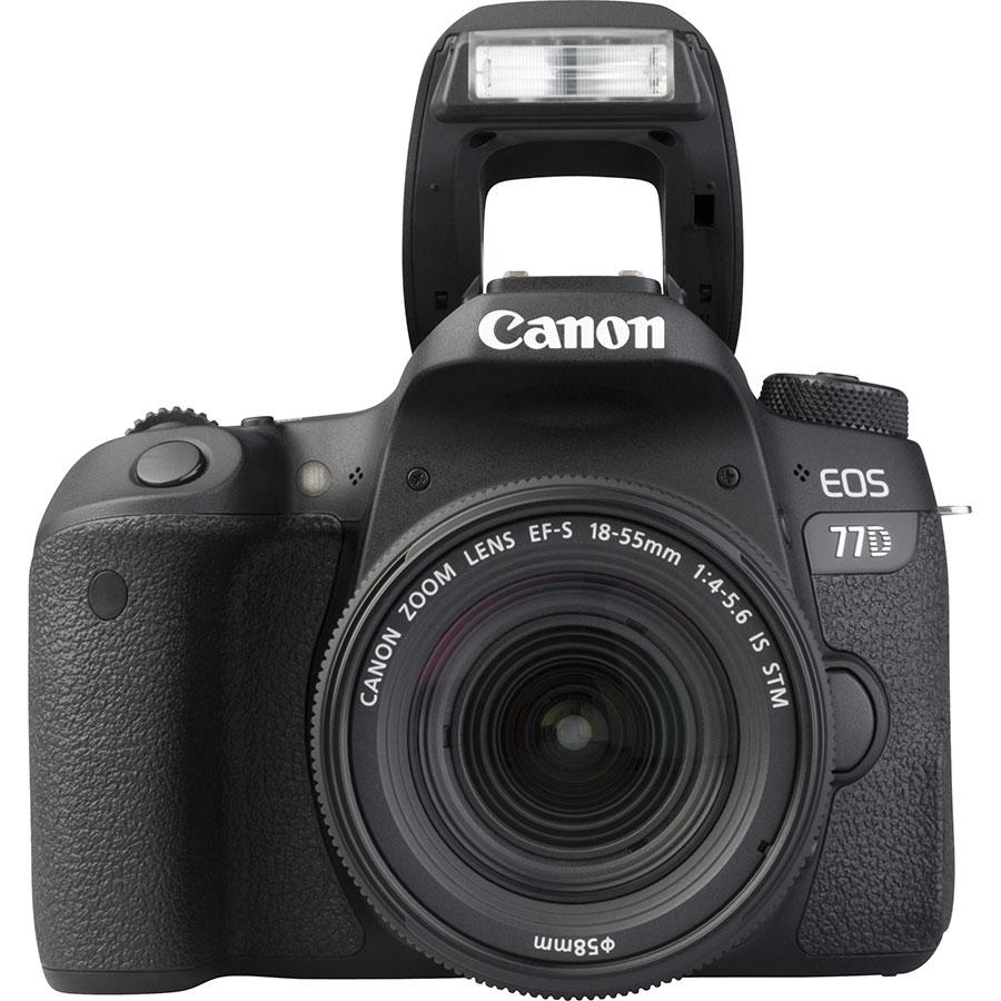 Canon EOS 77D + EF-S 18-55 mm F4-5,6 IS STM - Vue de face