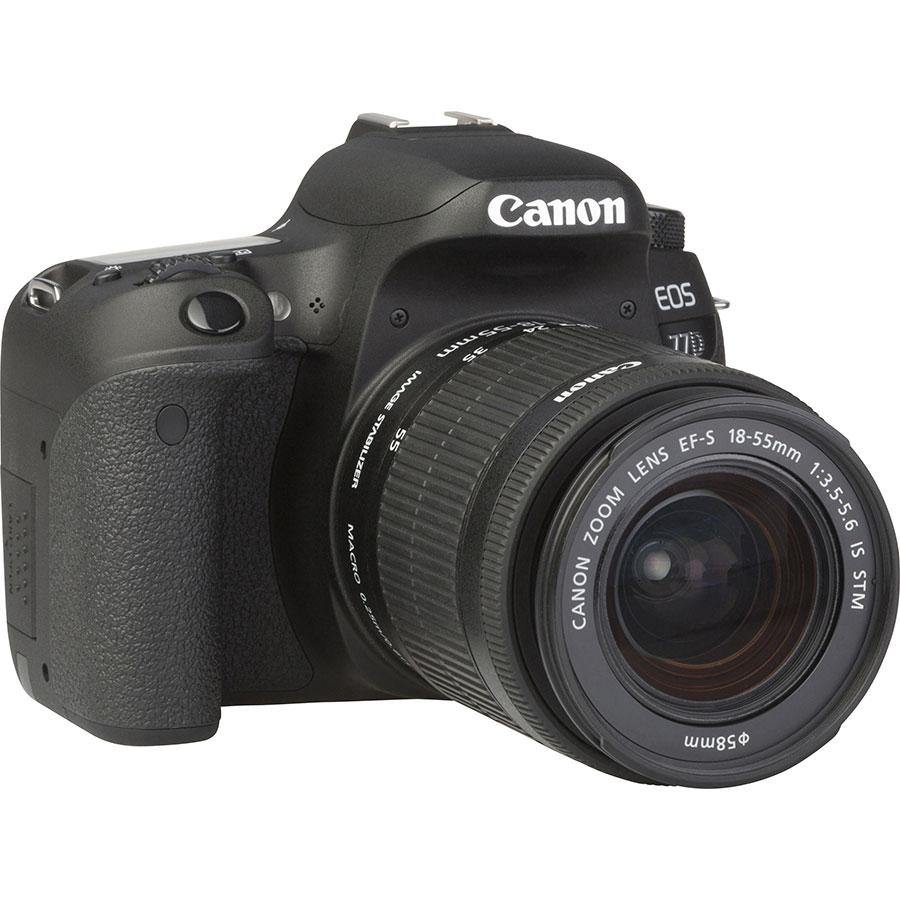 Canon EOS 77D + EF-S 18-55 mm IS STM - Vue de 3/4 vers la droite