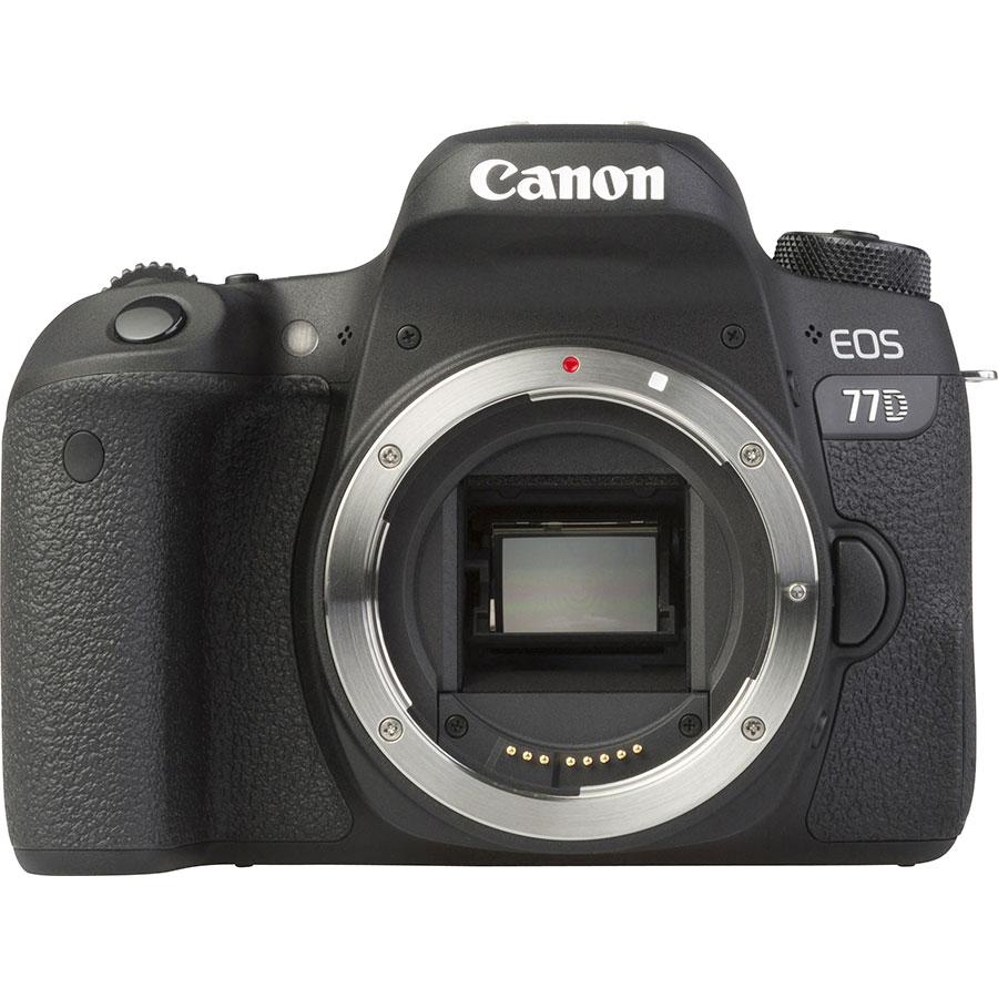 Canon EOS 77D + EF-S 18-55 mm IS STM - Vue de face sans objectif