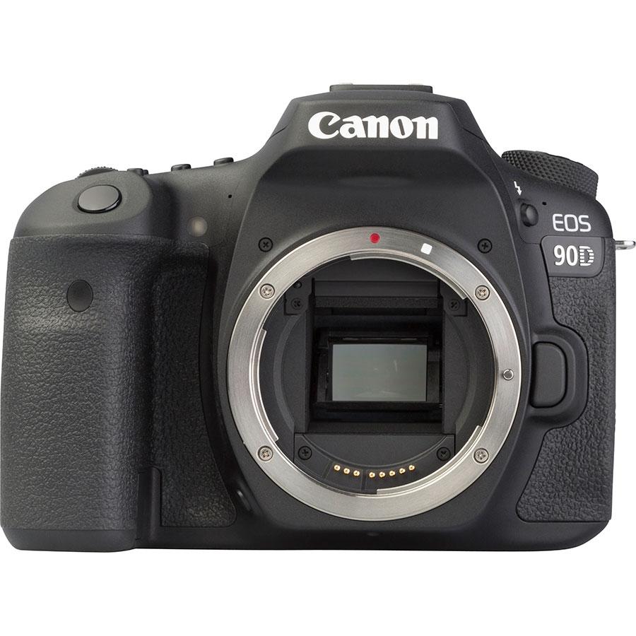 Canon EOS 90D + EF-S 18-55 mmIS STM - Vue de face sans objectif