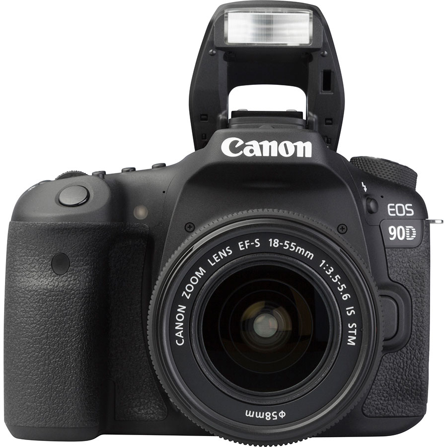 Canon EOS 90D + EF-S 18-55 mm IS STM - Vue de face avec le flash