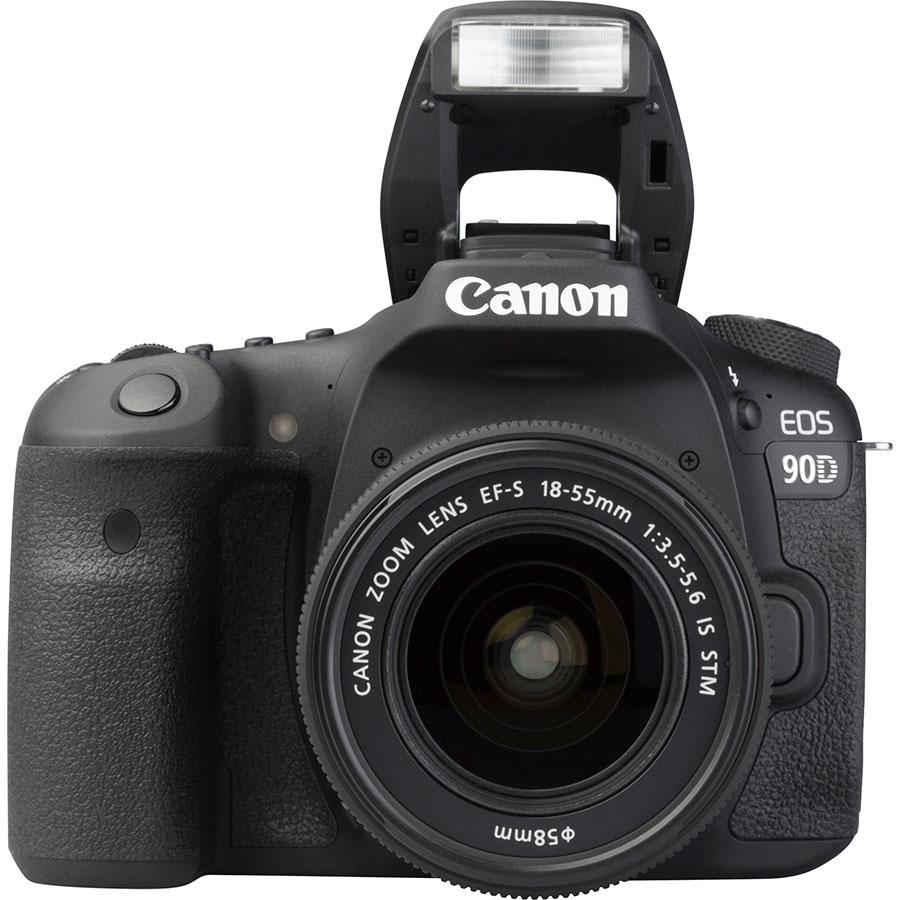 Canon EOS 90D + EF-S 18-55 mmIS STM - Vue de face avec le flash