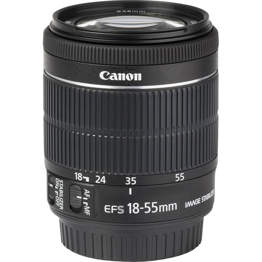 Canon EOS 90D + EF-S 18-55 mmIS STM - Vue de l'objectif