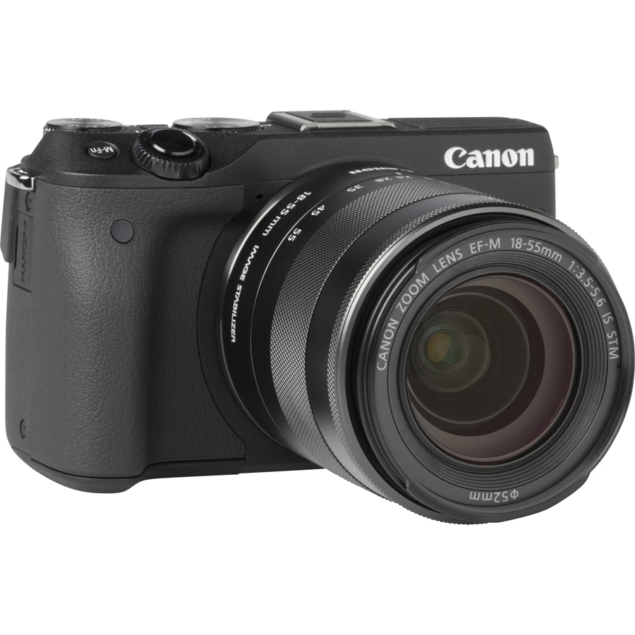 Canon EOS M3 + EF-M 18-55 mm IS STM - Vue de 3/4 vers la droite