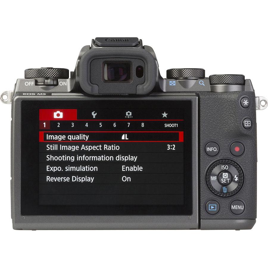 Canon EOS M5 + EF-M 18-150 mm IS STM - Vue de dos