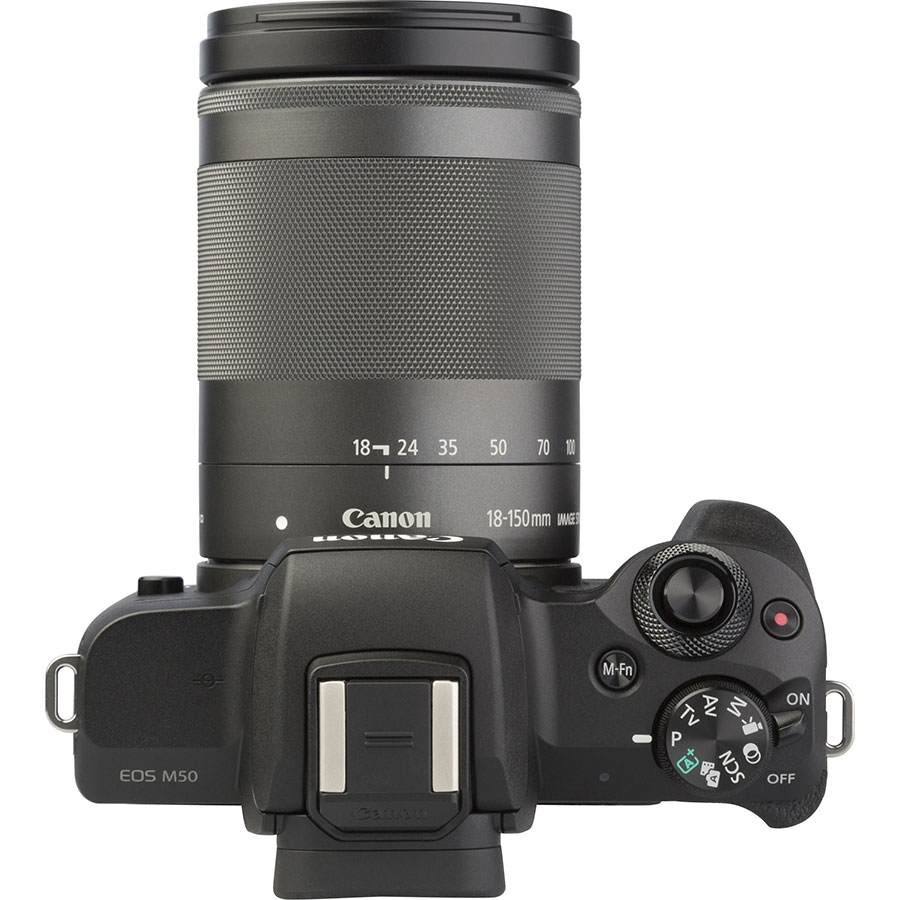 Canon EOS M50 + EF-M 18-150 mm IS STM - Vue du dessus
