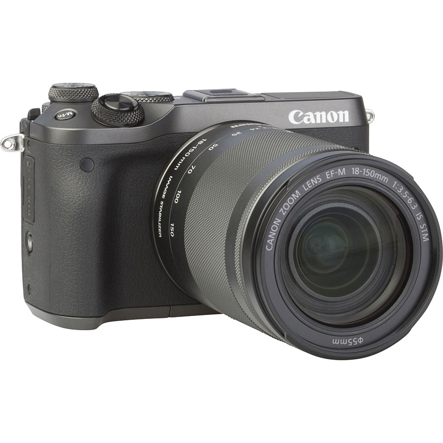 Canon EOS M6 + EF-M 18-150 mm IS STM - Vue de 3/4 vers la droite