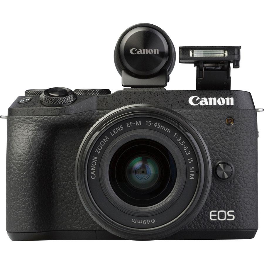 Canon EOS M6 Mark II + EF-M 15-45 mm IS STM - Vue de face avec le flash