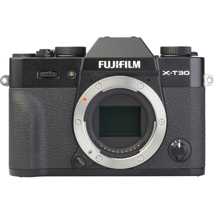 Fujifilm X-T30 + Fujinon Super EBC XF 18-55 mm R LM OIS - Vue de face sans objectif