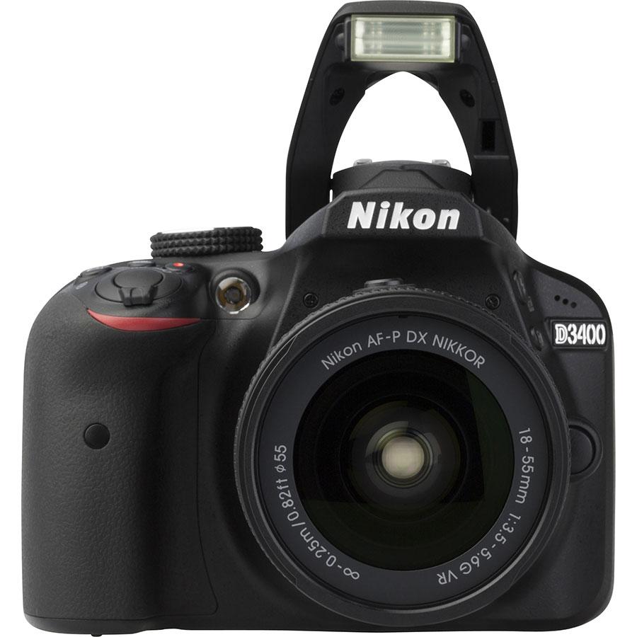 Nikon D3400 + AF-P DX Nikkor 18-55 mm G VR - Vue de face
