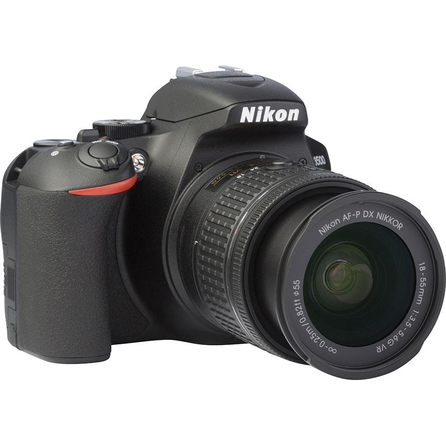 Nikon D3500 + AF-P DX Nikkor 18-55 mm G VR - Vue de 3/4 vers la droite