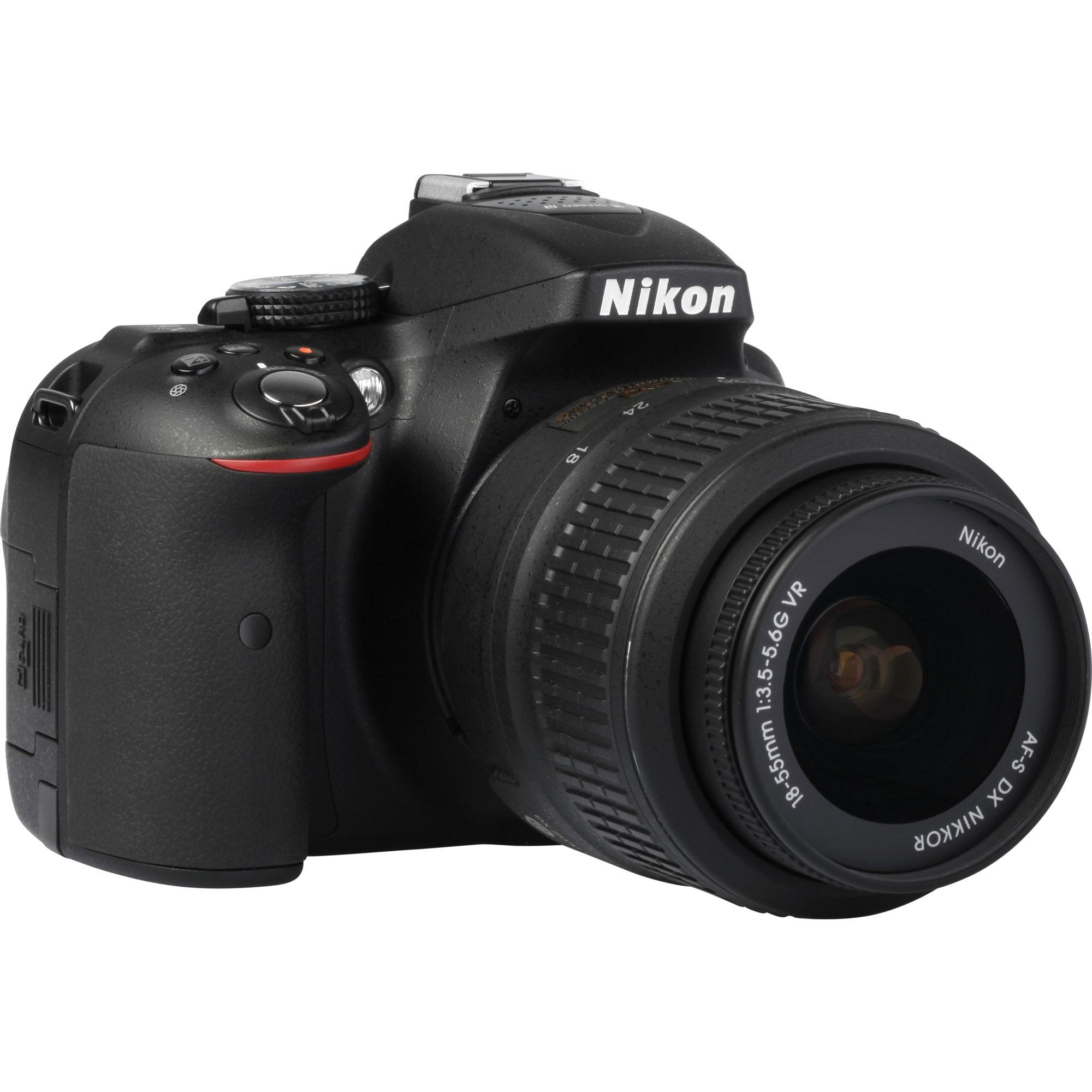 Nikon D5300 + AF-S DX Nikkor 18-55 mm G VR - Vue de 3/4 vers la droite