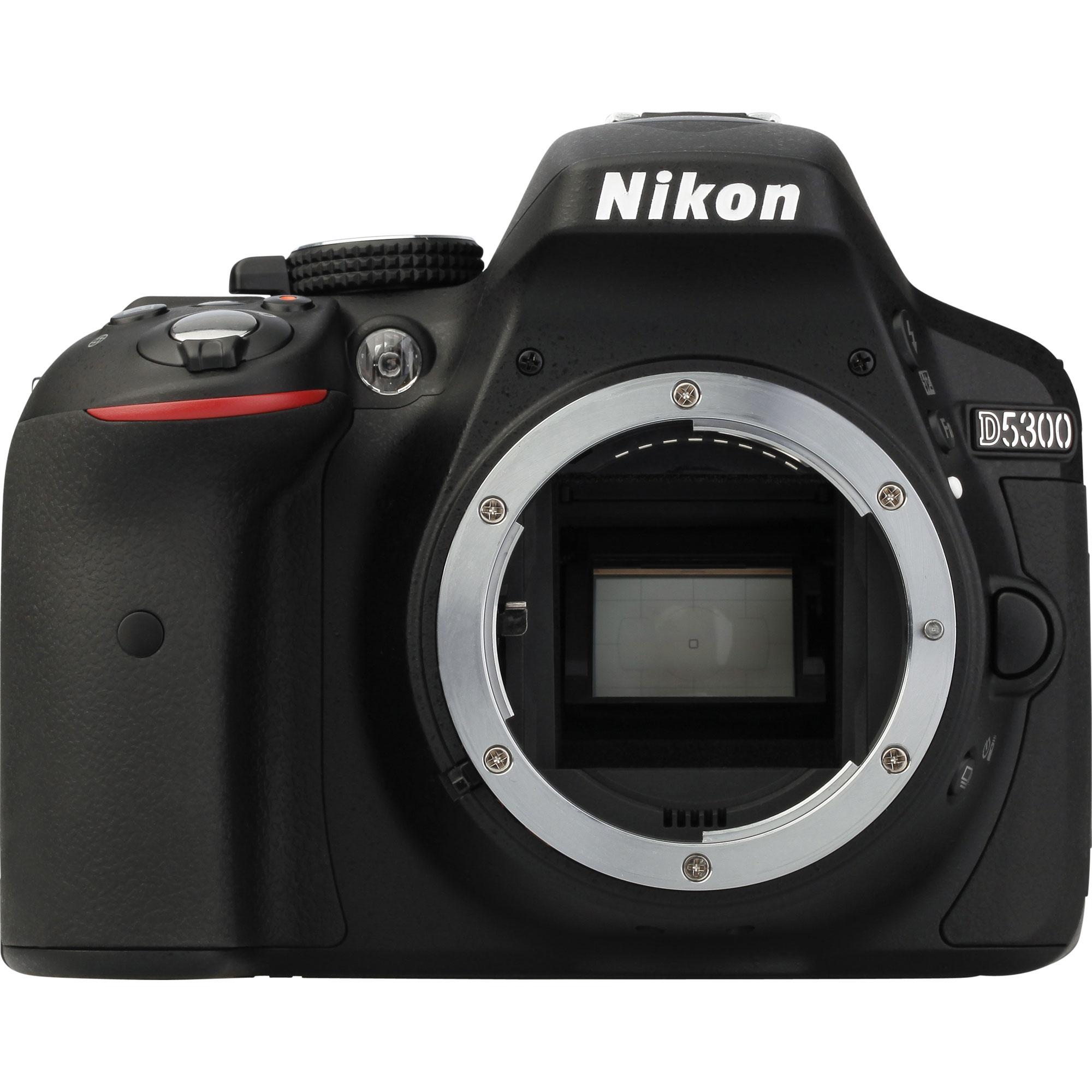 Nikon D5300 + AF-S DX Nikkor 18-55 mm G VR - Vue de face sans objectif