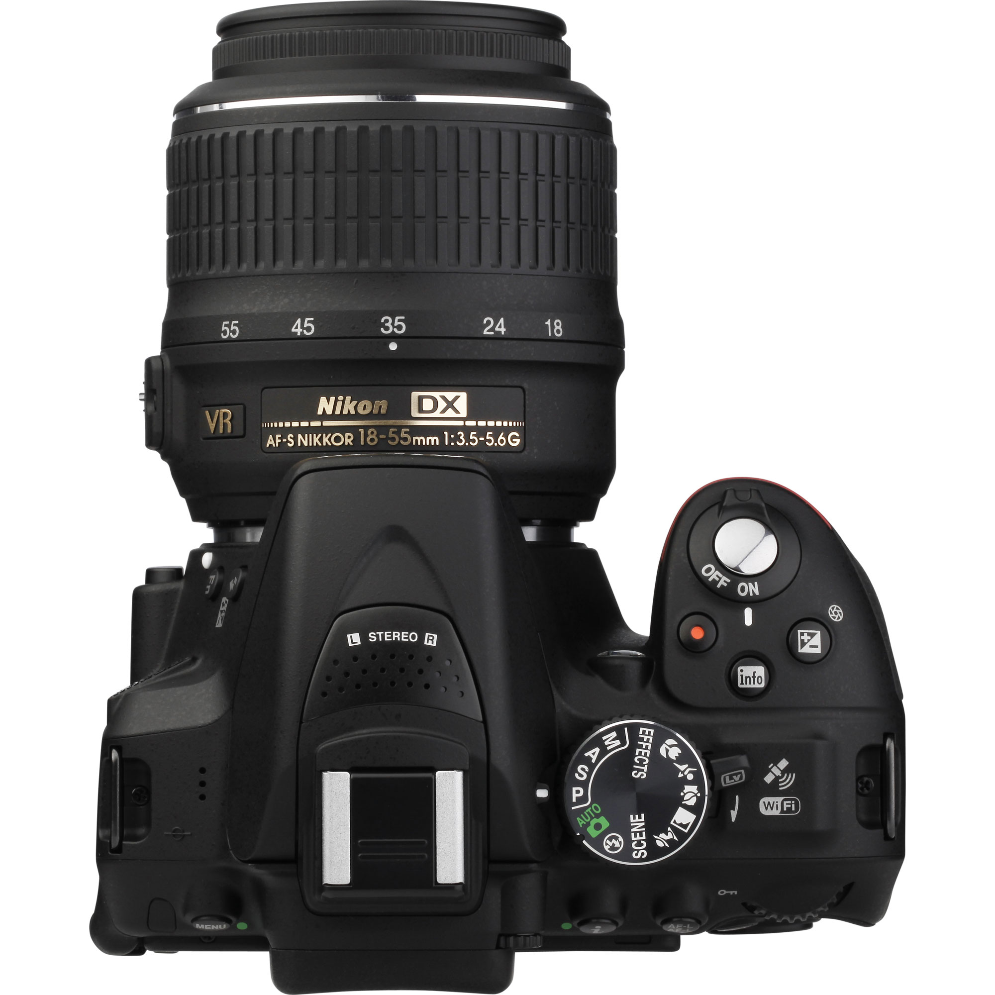 Nikon D5300 + AF-S DX Nikkor 18-55 mm G VR - Vue du dessus