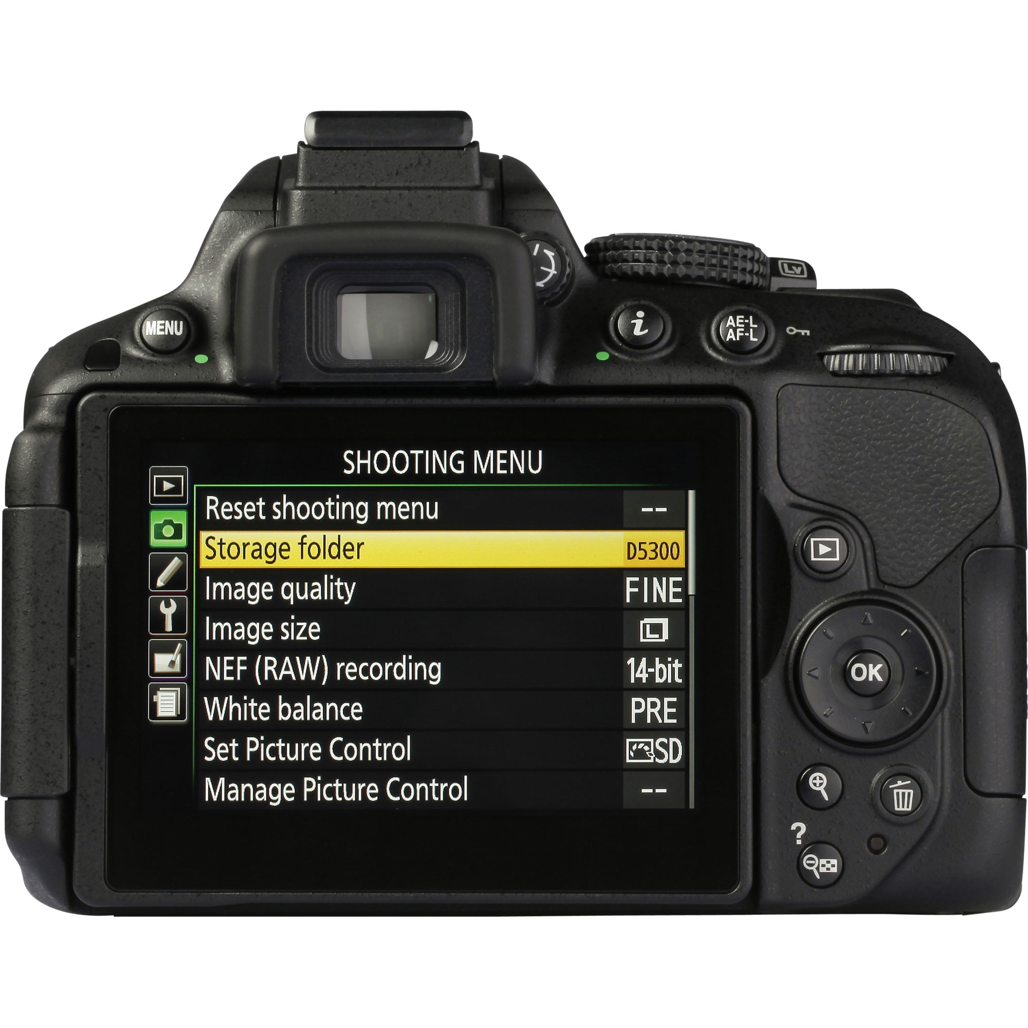Nikon D5300 + AF-S DX Nikkor 18-55 mm G VR - Vue de dos
