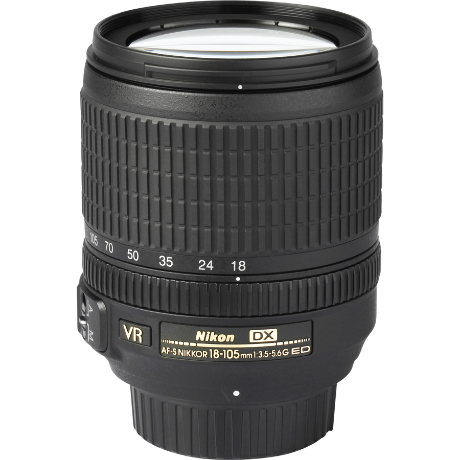 Nikon D5500 + AF-S DX Nikkor 18-105 mm G ED VR - Vue de l'objectif
