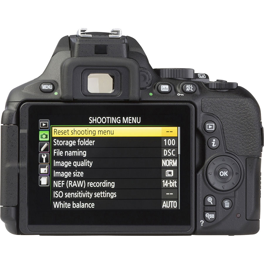 Nikon D5600 + AF-S DX Nikkor 18-140 mm G ED VR - Vue de dos