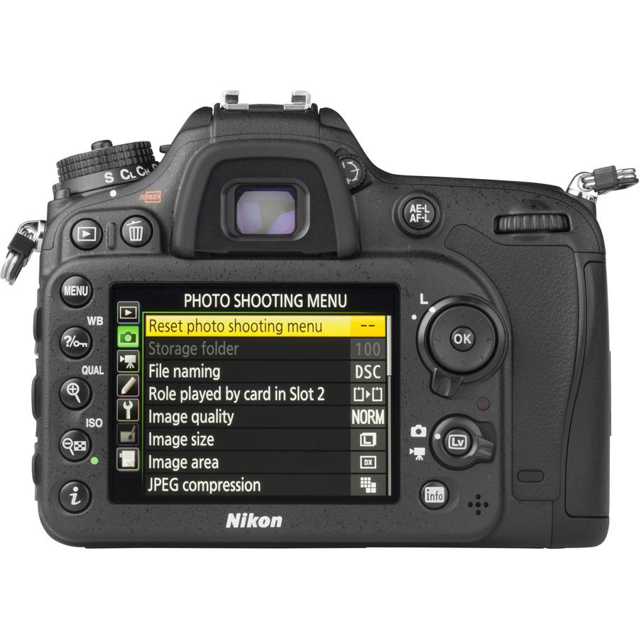 Nikon D7200 + AF-S DX Nikkor 18-140 mm G ED VR - Vue de dos
