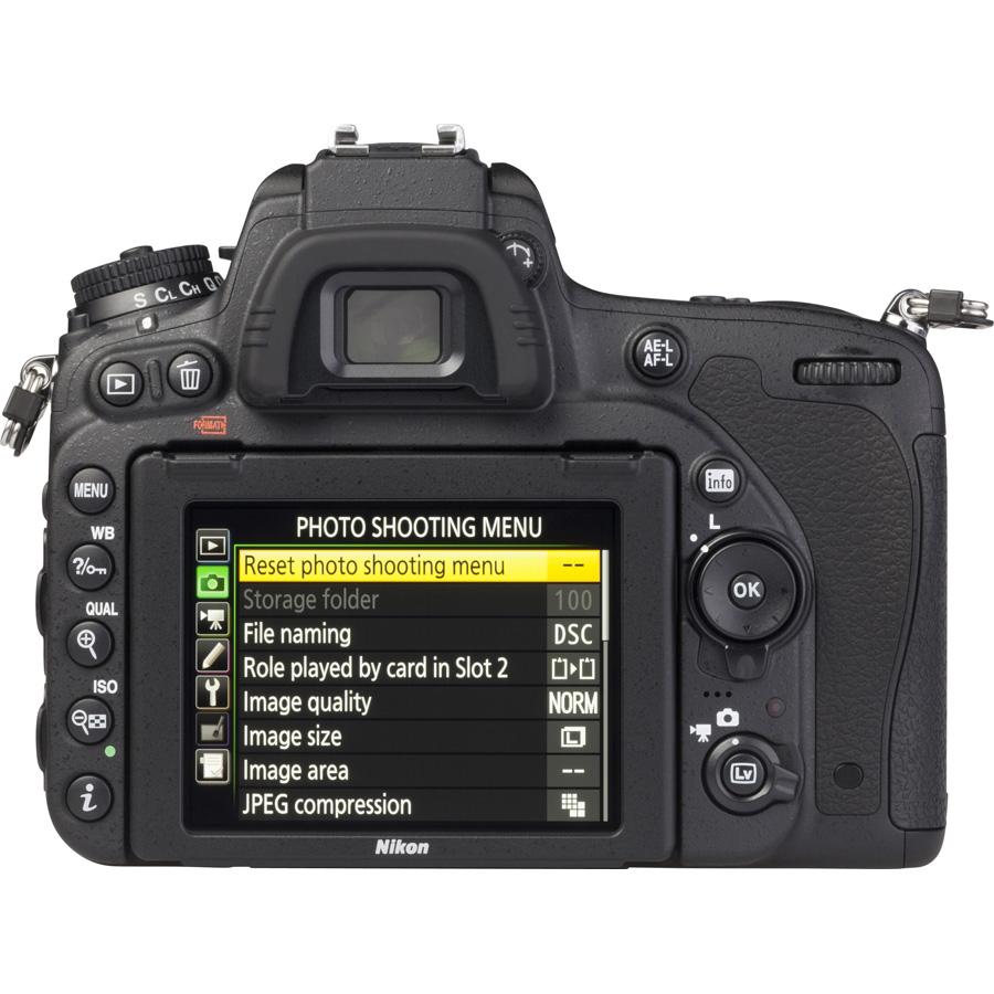 Nikon D750 + AF-S Nikkor 24-120 mm G ED VR - Vue de dos