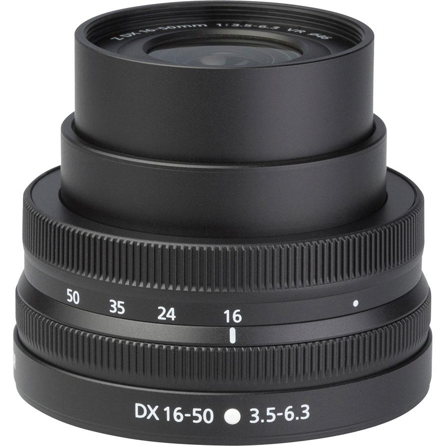 Nikon Z50 + Nikkor Z DX 16-50 mm VR - Vue de l'objectif