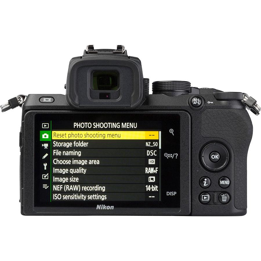 Nikon Z50 + Nikkor Z DX 16-50 mm VR - Vue de dos