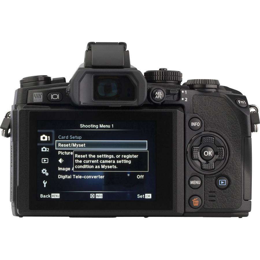 Olympus OM-D E-M1 + M. Zuiko Digital ED 12-50 mm EZ MSC - Vue de dos