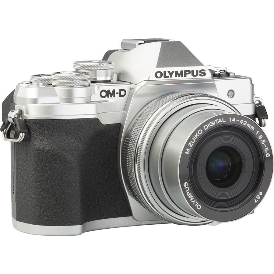 Olympus OM-D E-M10 Mark IV + M. Zuiko Digital 14-42 mm EZ ED MSC - Vue de 3/4 vers la droite