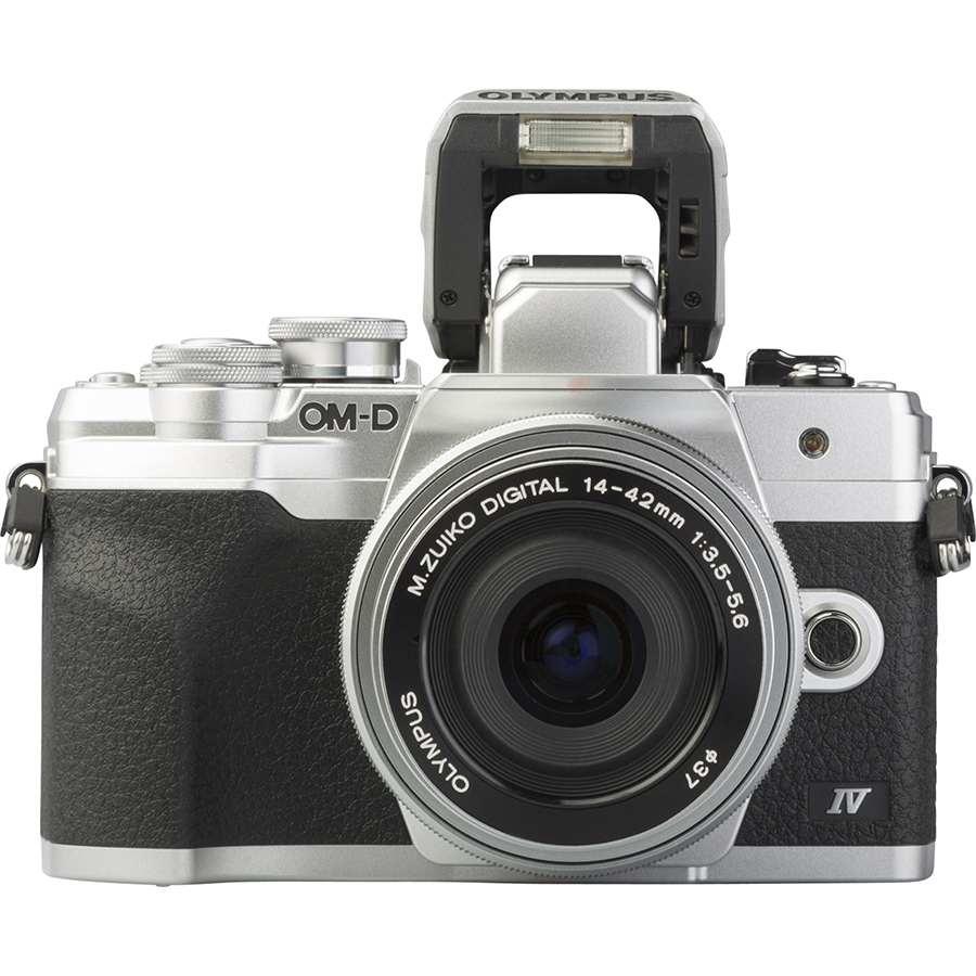 Olympus OM-D E-M10 Mark IV + M. Zuiko Digital 14-42 mm EZ ED MSC - Vue de face