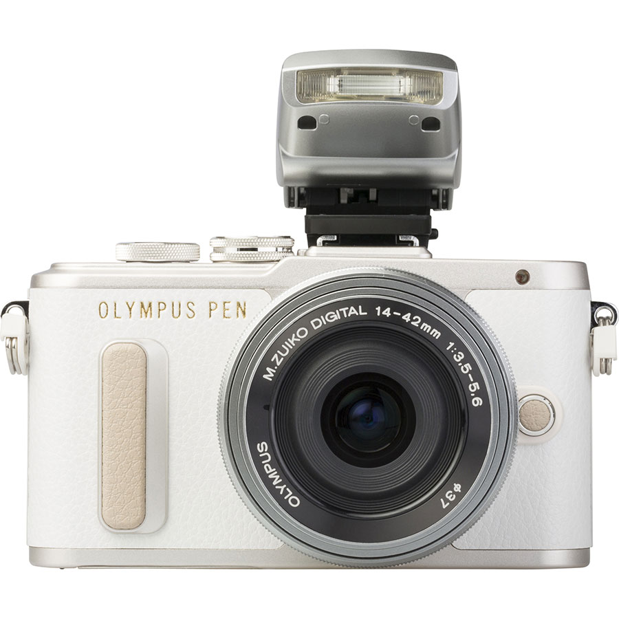 Olympus Pen E-PL8 + M. Zuiko Digital ED 14‑42 mm EZ - Vue de face