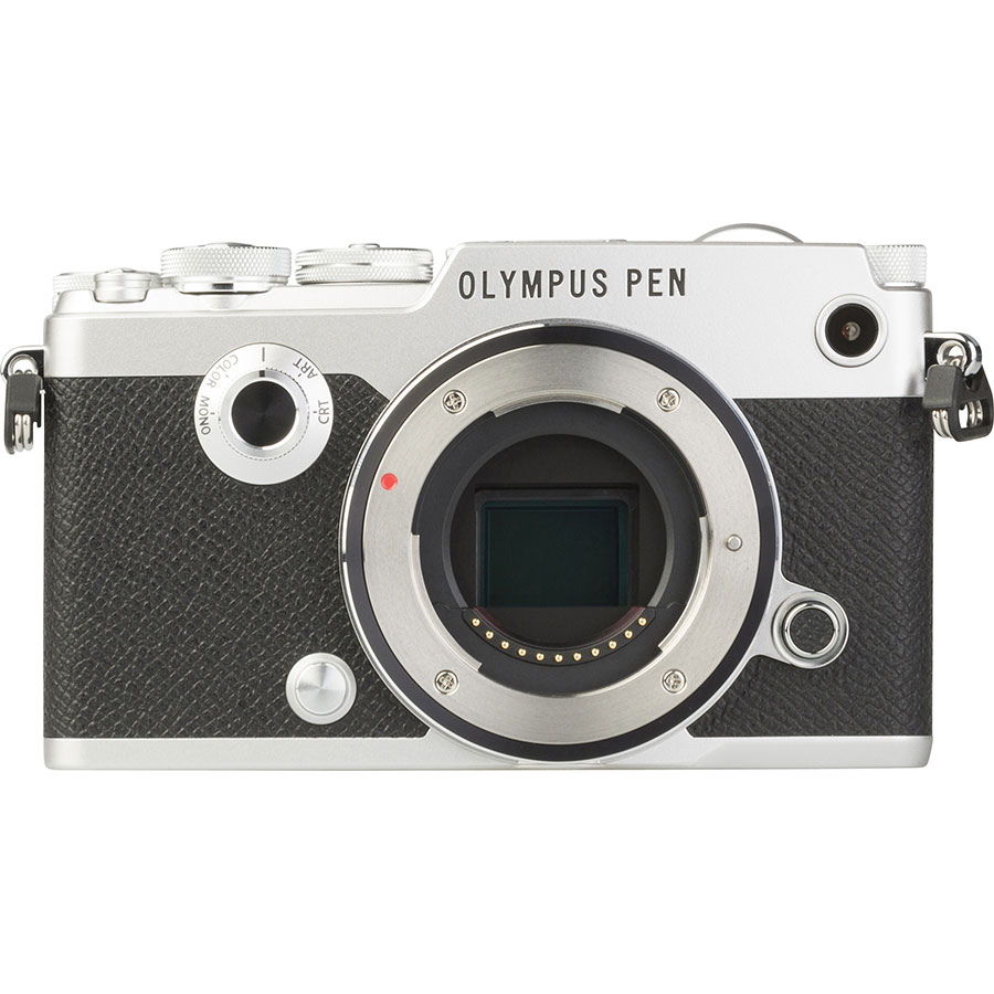 Olympus Pen-F + M. Zuiko Digital 14-42 mm EZ ED MSC - Vue de face sans objectif