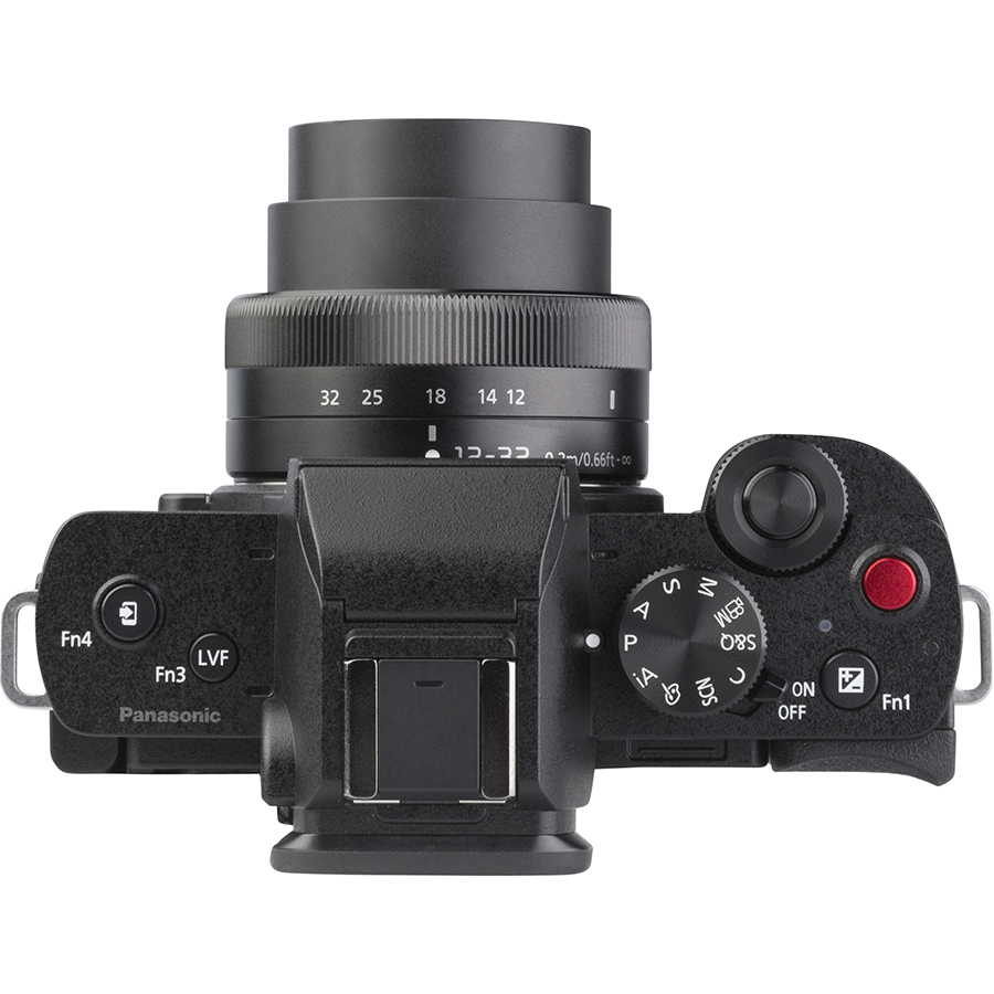 Panasonic Lumix DC-G100 + Lumix G Vario 12-32 mm Mega OIS - Vue de dessus