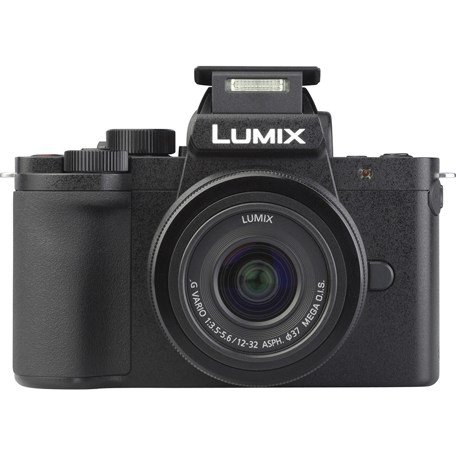 Panasonic Lumix DC-G100 + Lumix G Vario 12-32 mm Mega OIS - Vue de face