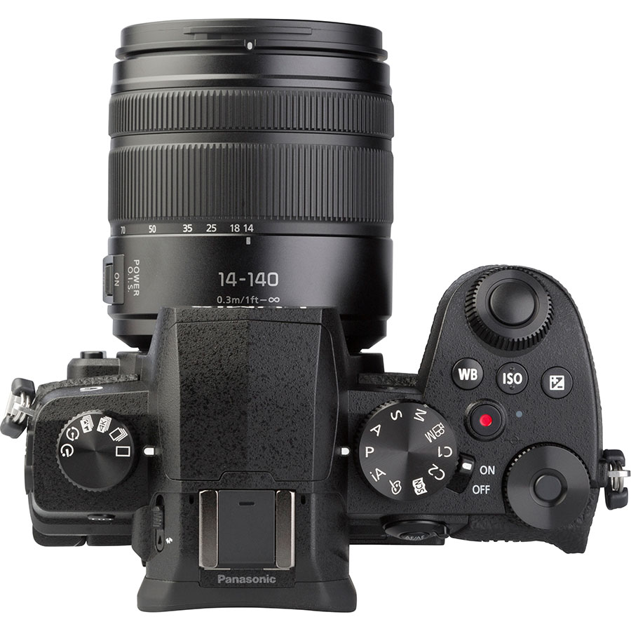 Panasonic Lumix DC-G90 + Lumix G Vario 14-140 mm Power OIS - Vue du dessus