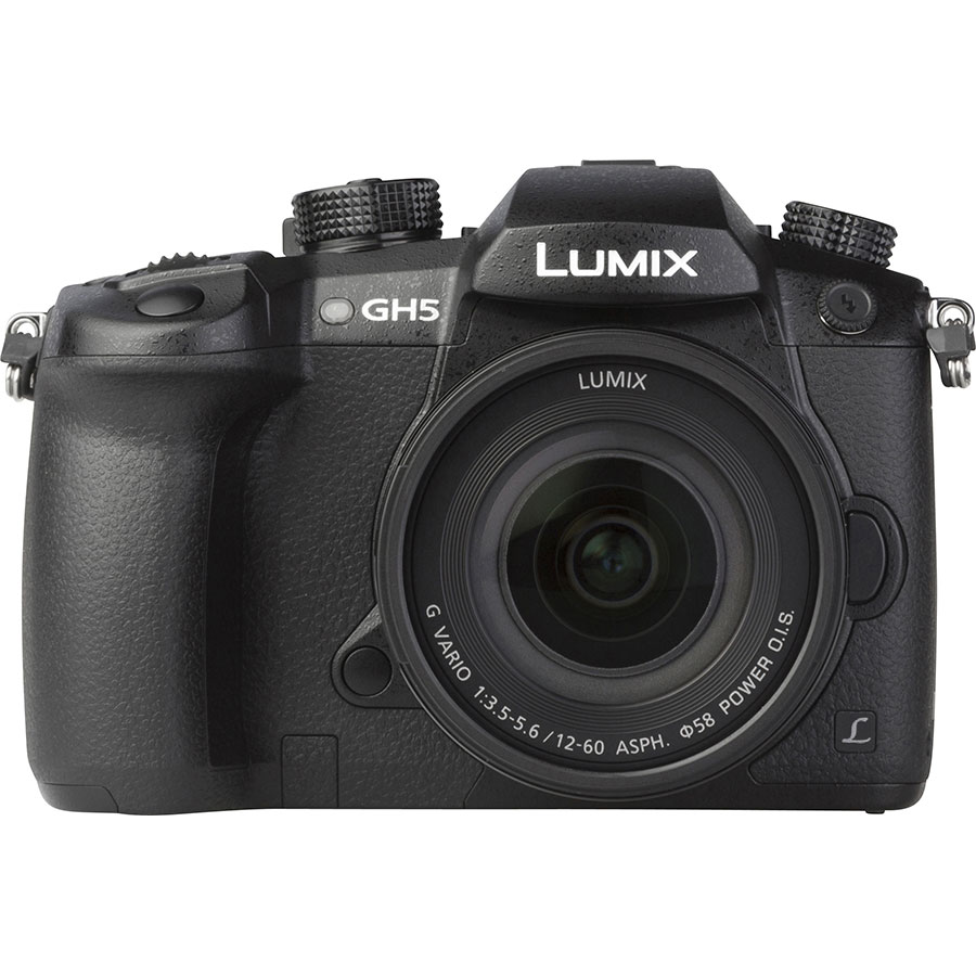 Panasonic Lumix DC-GH5 + Lumix G Vario 12-60 mm Power OIS - Vue de face