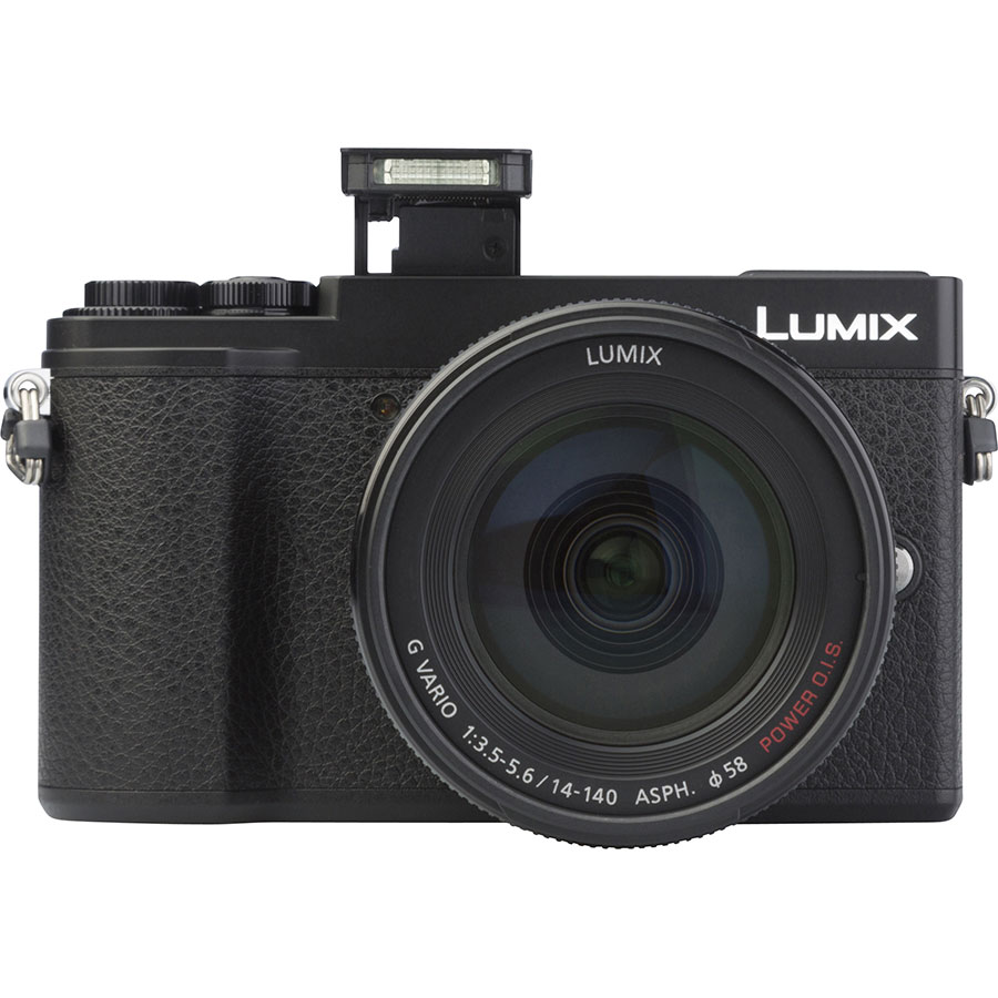 Panasonic Lumix DC-GX9 + Lumix G Vario 14-140 mm Power OIS - Vue de face